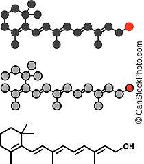 Vitamin ein (Retinol) Molekül. Stylisierte 2D Rendering und konventionelle Skelettformel.