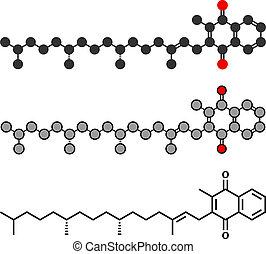 Vitamin K (K1, Phylloquinone, Phytomenadione) Molekül. Stylisierte 2D Rendering und konventionelle Skelettformel.