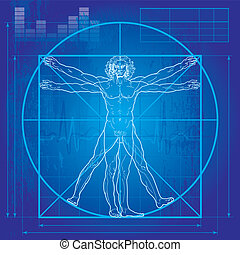 vitruvian, (blueprint, version), mann