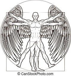 vitruvian, engelchen, mann