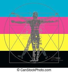 Vitruvian Mann mit binären Codes auf CMYK Farbstreifen Hintergrund.