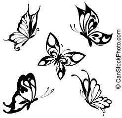 vlinders, satz, schwarz, weißes, ta
