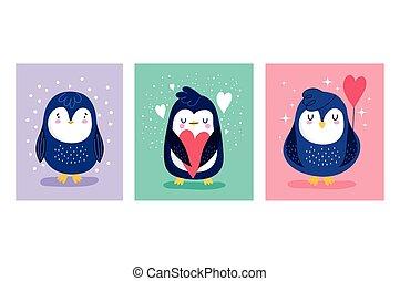 vogel, dekoration, pinguine, karikatur, zeichen, tier, banner, herzen