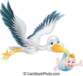 Vogel, der mit Neugeborenen fliegt