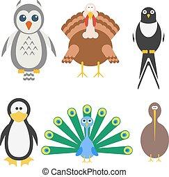 Vogel-Ikone eingestellt. Vector Illustration