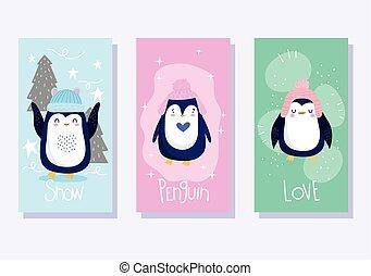 vogel, karikatur, pinguine, tier, banner, tierwelt, hüte, bäume, antarktisch