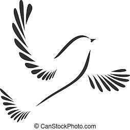 Vogel oder Taube.