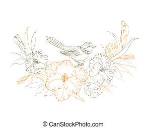 Vogel sitzt auf Iris-Blume.