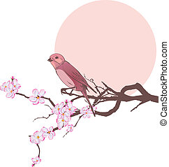 Vogel und Zweig Kirschbaum