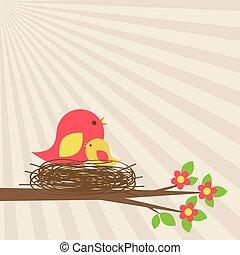 Vogelfamilie in Nest auf blühendem Ast
