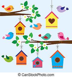 Vogelhäuser im Frühling
