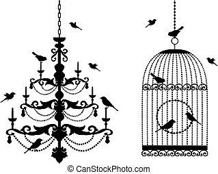 Vogelkacke und Kronleuchter mit Vögeln
