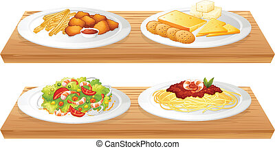 voll, hölzern, zwei, vier, essen, platten, servierbretter
