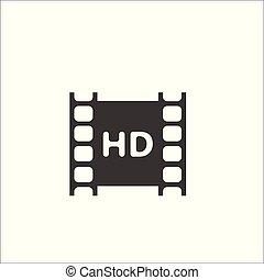 voll, negative., video, hd, film, ikone