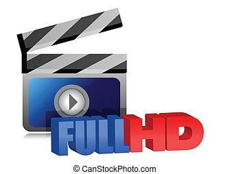 voll, video, hd, abbildung, zeichen