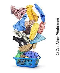 voll, wäscherei, bunte, freigestellt, hintergrund., herbst, korb, weißes, kleidung