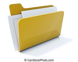Volle gelbe Ordner Icon isoliert auf weiß.