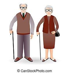 Volle Länge Porträt eines gutaussehenden alten Mannes mit Stock