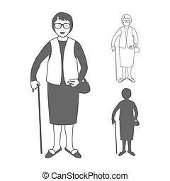 Volle Längenporträt einer netten alten Frau, die auf weißem Hintergrund mit Stock isoliert steht.
