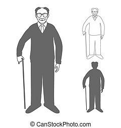 Volle Längenporträt von einem gutaussehenden alten Mann, der mit dem Stock auf weißem Hintergrund steht.