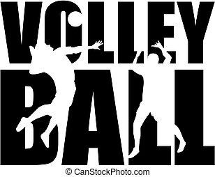 Volleyball-Wort mit Ausschnitt.