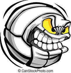 Volleyballkugel mit Gesicht zum Cartoon Vektor