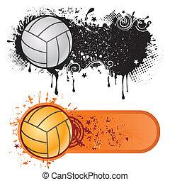 Volleyballsport und Grunge Tinte