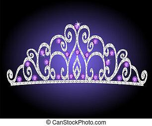 Von der Tiara-Kronenhochzeit mit lila Steinen