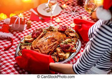 vorbereiten, frau, weihnachtsabendessen