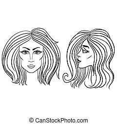 Vorder- und Seitenansicht der Frau mit schönen Haaren. Schwarze und weiße Vektorgrafik.
