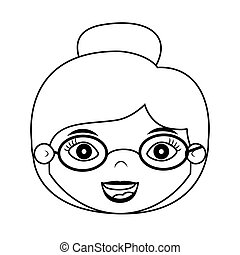 Vordere Frau Silhouette mit Brille.