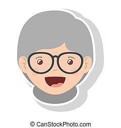 Vorderes Gesicht ältere Frau lächeln mit Brille.