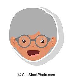 Vordergesicht ältere Brünette mit Brille.