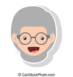 Vordergesicht ältere Frau mit Brille.
