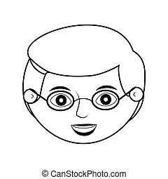 Vorderseite ältere Mann Silhouette mit Brille.