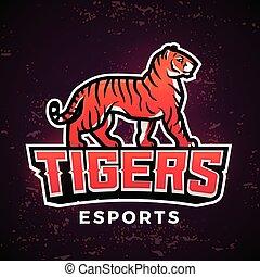 Vorgefertigte Tigermascot-Vektor. Sport Logo Design Vorlage. Fußball oder Baseball Illustration. College-Liga-Insignien, Schul-Team-Logotype auf dunklem Hintergrund.