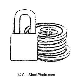 vorhängeschloß, skizze, geldmünzen, gestapelt, monochrom