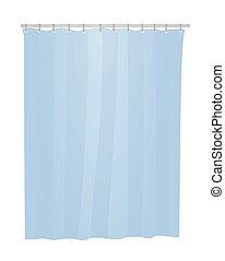 vorhang, badezimmer, blaues