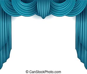 Vorhang mit weißem Hintergrund hinter sich.
