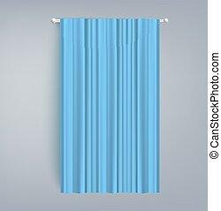 vorhang, realistisch, leer, dusche, blaues, fenster, abbildung, isolated., vektor, oder