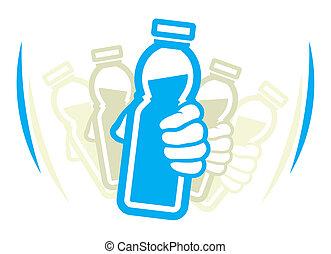 vorher, joghurt, flasche, schütteln, gebrauch
