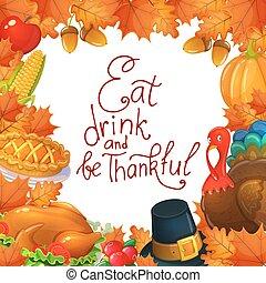 Vorlage mit Thanksgiving Icons