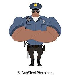 vormund, schwarz, performance., uniform., strongman, polizei, nightstick., american., blaues gesetz, starke , abzeichen, policeman., afrikanisch, offizier