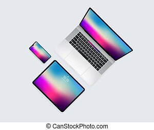 vorrichtung, oberseite, beweglich, laptop, tablette, satz