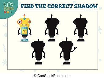 vorschulisch, korrekt, roboter, erzieherisch, schatten, mini, reizend, spiel, finden, karikatur, kinder, humanoid