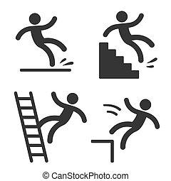 Vorsichtssymbole mit fallendem Mann.