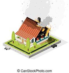 vorstädtisch, concept., fire., brennender, wohnhaeuser, gebäude, dicht, isometrisch, smoke.