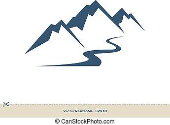 vulkan, schablone, design, vektor, linie, logo, flüßchen, abbildung, berg