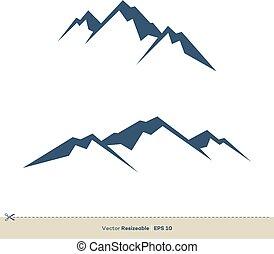 vulkan, schablone, design, vektor, logo, abbildung, berg