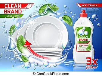 wäsche, reinigungsmittel, vektor, flasche, platten, stapel